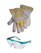 Arbeitshandschuhe und Schutzbrillen